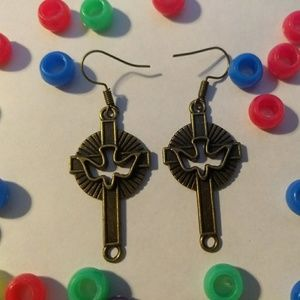 CROSS W/ DOVE EARRINGS - religious jewelry fashion